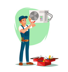 Air conditioner repair service young man vector
