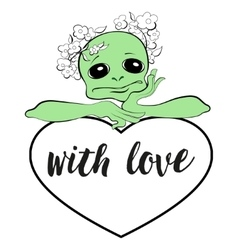 Alien with a heart vector