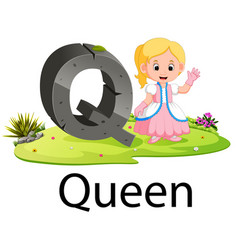Alphabet q for queen with the good animation vector