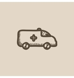 Ambulance car sketch icon vector