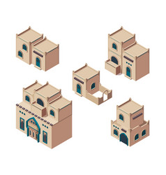 Arabic houses isometric sandy authentic old vector