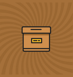 archive box icon simple line cartoon vector image