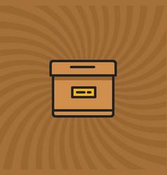 Archive box icon simple line cartoon vector