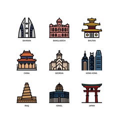 asian cities and counties landmarks icons set 2 vector image