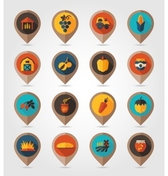 Autumn Harvest Thanksgiving flat mapping pin icon vector
