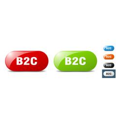 B2c button key sign push button set vector