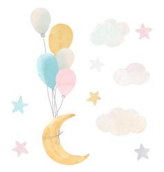 Baby moon stars and clouds vector