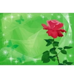 Background with Flower Rose and Butterflies vector