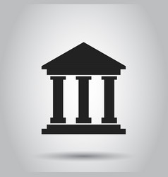 Bank building icon in flat style museum on gray vector
