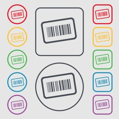 Barcode icon sign symbol on the Round and square vector image