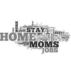 Best jobs for stay at home moms text word cloud vector