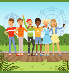 big friendly group multiracial teenagers vector image