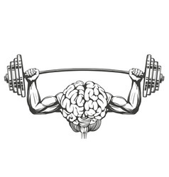 Brain with strong hands brain training icon vector