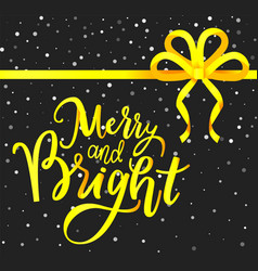 bright and merry holidays greeting card with bow vector image