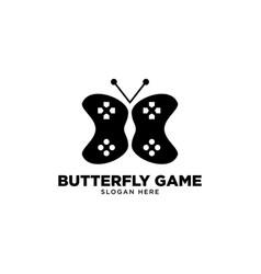Butterfly game logo design vector