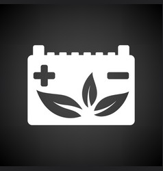Car battery leaf icon vector