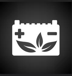 Car battery leaf icon vector