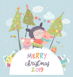 Cartoon little girl with funny pigs christmas vector