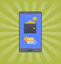 cash back concept with man leather wallet vector image