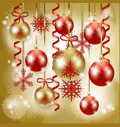 christmas background in red and gold vector image