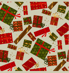 christmas green and red gift box seamless pattern vector image