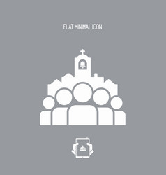 Church community - flat minimal icon vector