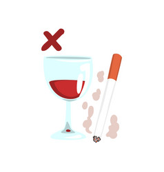 Cigarette and wine glass no bad habits vector
