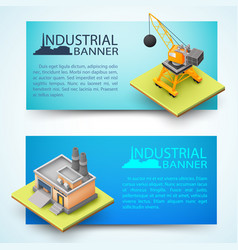 Construction vehicle and factory banners vector