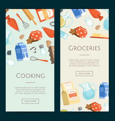 Cooking ingridients or groceries vertical vector