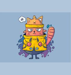 creative cartoon funny cat in a vector image
