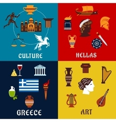 culture art and history icons greece vector image