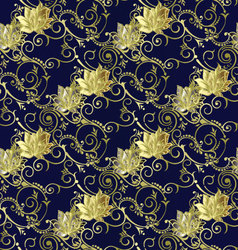 Dark blue vintage floral seamless pattern vector