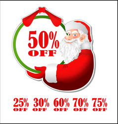 Discount sticker with Santa Claus vector image