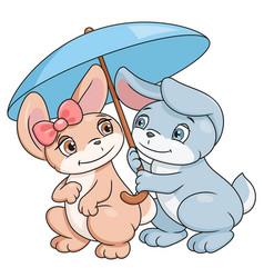 enamored bunnies with umbrella vector image