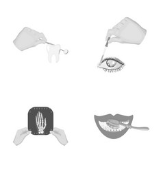 examination of the tooth instillation of the eye vector image