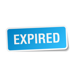 Expired blue square sticker isolated on white vector