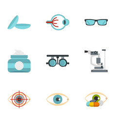 eye diagnostic icons set flat style vector image