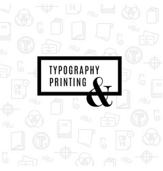 flat line icons of print design process from vector image
