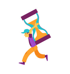 flat man holding hourglass running smiling vector image