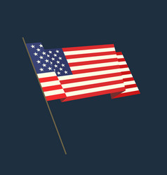 Flat style waving usa flag vector