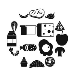 Food icons set simple style vector