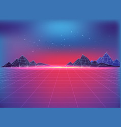 Futuristic backdrop in 80s style with cosmic motif vector