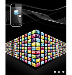 Global mobile phone apps icons wall vector