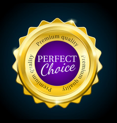 Gold premium perfect choice sale badge purple vector