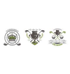 golf tournament premium logo design set golf club vector image