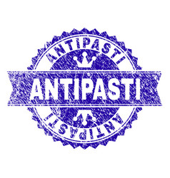 Grunge textured antipasti stamp seal with ribbon vector