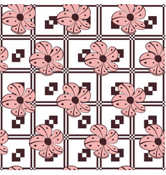hand drawn flowers seamless pattern jacquard vector image