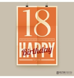 Happy birthday poster card eighteen years old vector
