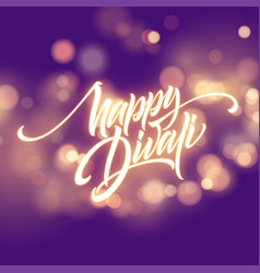 Happy diwali festival bright flame glowing vector