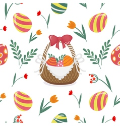 Happy Easter Seamless Pattern with Easter Eggs vector image